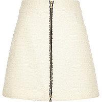 Cream bouclé zip-front A-line skirt