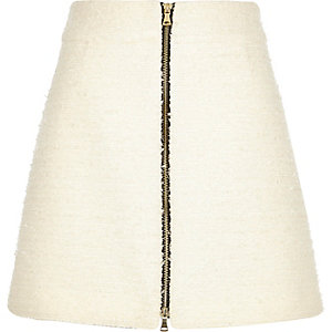 Cream bouclé zip-front A-line skirt