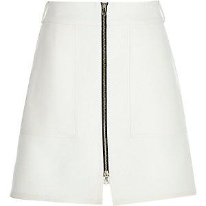 Cream zip-up A-line skirt