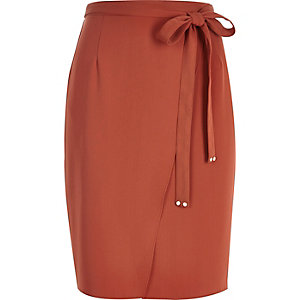 Dark orange side tie skirt