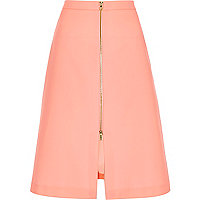 Pink zip front A-line midi skirt