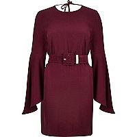 Dark red belted swing sleeve dress