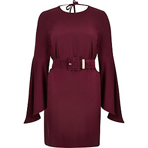 Dark red belted swing sleeve dress