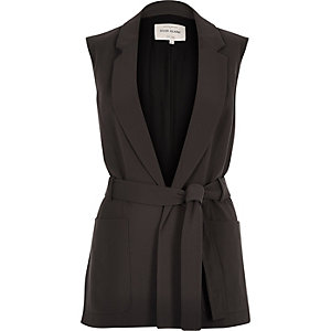 Dark grey belted sleeveless jacket