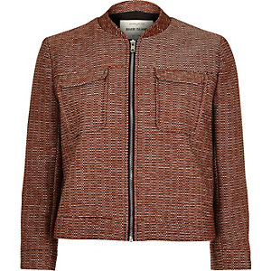 Dark orange zip-up cropped jacket