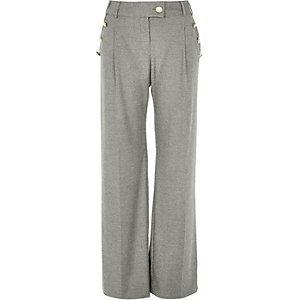 Grey button side wide leg trousers