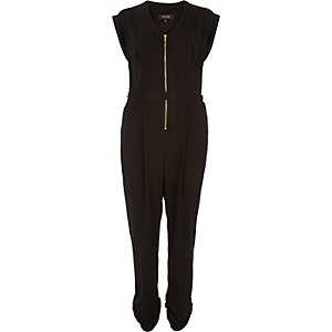 Black zip front belted jumpsuit