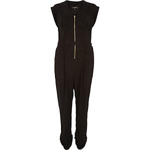 Black zip front belted jumpsuit