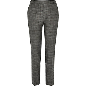 Dark grey tailored cigarette trousers