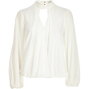 Cream keyhole high neck blouse