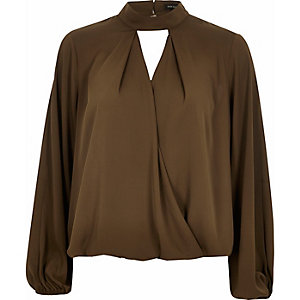 Khaki keyhole high neck blouse