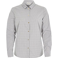 Grey stripe fitted shirt