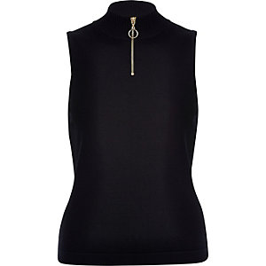 Black zip neck fitted top
