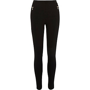 Black premium zip side leggings