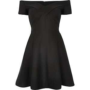 Black scuba bardot skater dress