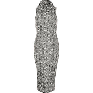 Grey marl cowl neck bodycon dress