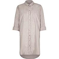 Grey longline shirt dress
