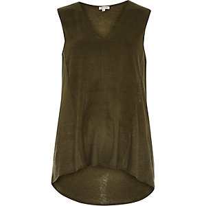 Khaki faux-suede panel sleeveless top