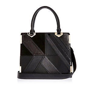 Black patchwork tote handbag