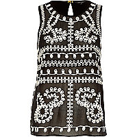 Black embroidered mesh sleeveless top