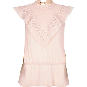 Light pink cape front sleeveless top