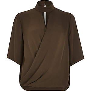 Khaki wrap front high neck t-shirt