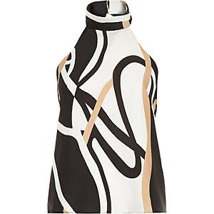 Beige print open back halter neck top