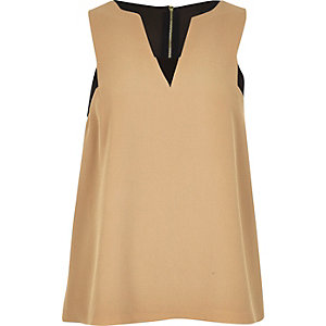 Beige colour block sleeveless top