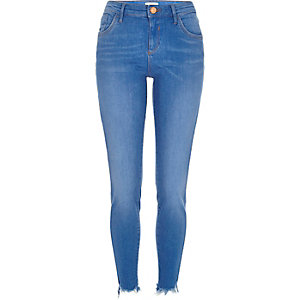 Bright wash raw hem Amelie superskinny jeans