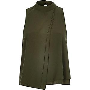 Khaki asymmetric layer sleeveless top