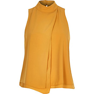 Yellow asymmetric layer sleeveless top
