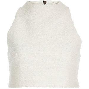 Cream textured crop top