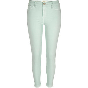 Mint green raw ankle grazer Molly jeggings