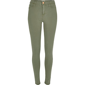 Light green sateen finish Molly jeggings