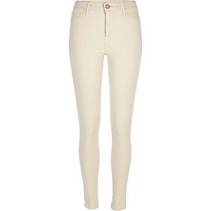 Cream sateen finish Molly jeggings
