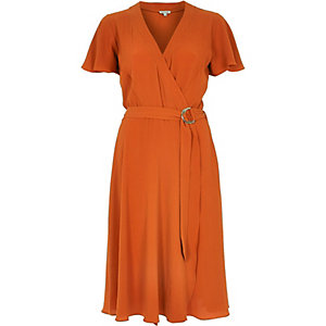 Orange wrap D-ring belt midi dress