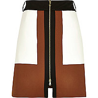 Brown panelled A-line zip front skirt