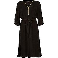 Black zip front shirt dress