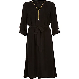Black zip front shirt dress