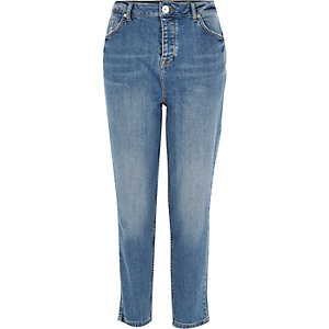 Mid wash high rise girlfriend jeans
