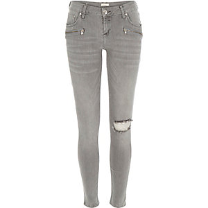 Grey low rise Amelie superskinny jeans