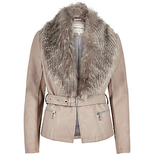 Taupe leather-look belted jacket