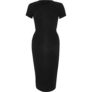 Black trellis trim bodycon dress