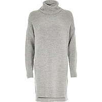 Grey knitted cowl neck jumper dress