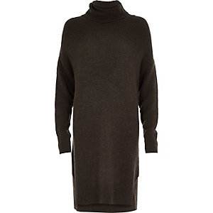 Khaki knitted cowl neck jumper dress