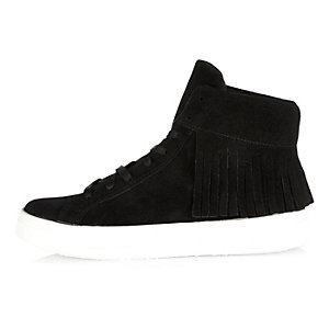 Black suede tasselled high top trainers