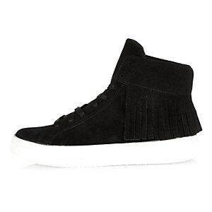 Black suede tasselled high top sneakers