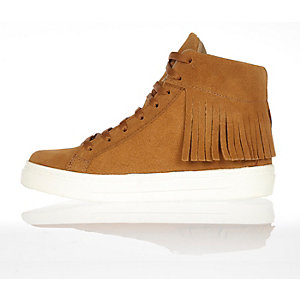 Tan suede tassel high top trainers