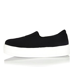 Black scuba slip on plimsolls