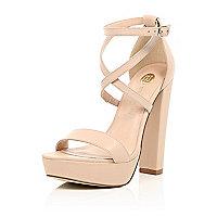 Light pink leather platform heels
